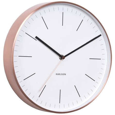 Yellow Accent Wall by Karlsson Minimal Copper Clock White Classic Wall Clock