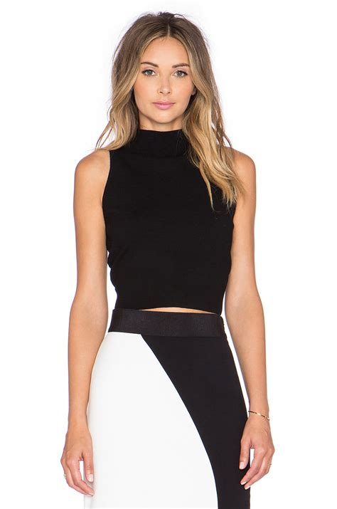Top Neck Black lyst milly crop mock neck top in black