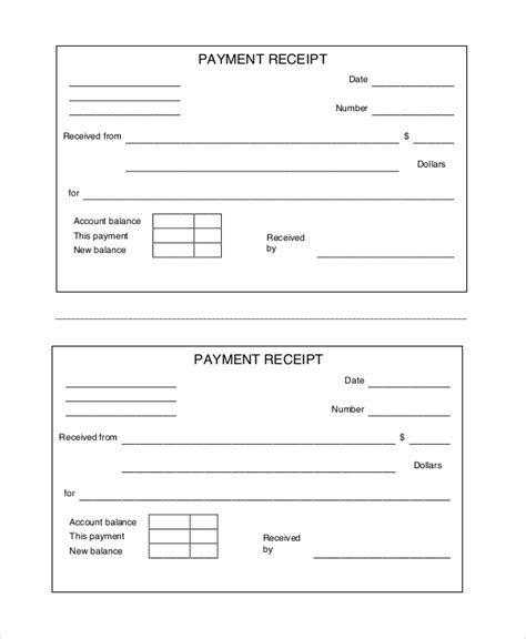payment receipt template 10 free printable receipts sle templates