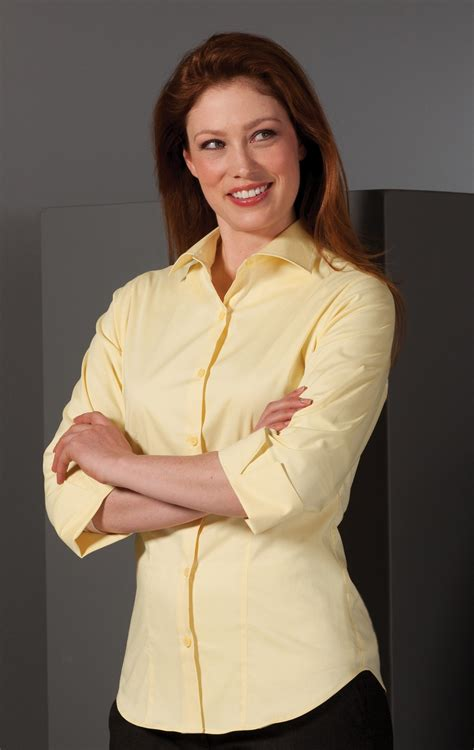 edwards womens tailored  sleeve stretch blouse