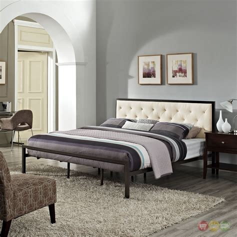 mia modern solid steel platform fabric button tufted king bed brown beige