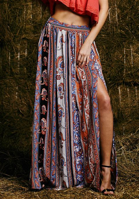 womens boho tribal floral skirt maxi summer
