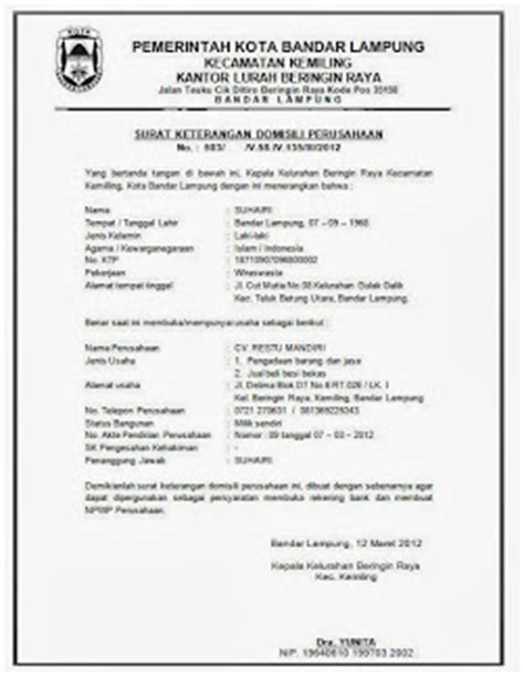 biaya pembuatan surat keterangan domisili perusahaan natural life dokumen pendirian perusahaan