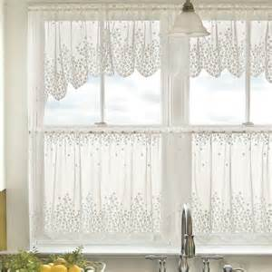 Lace Kitchen Curtains Blossom Floral Lace Kitchen Curtains In White And Beige