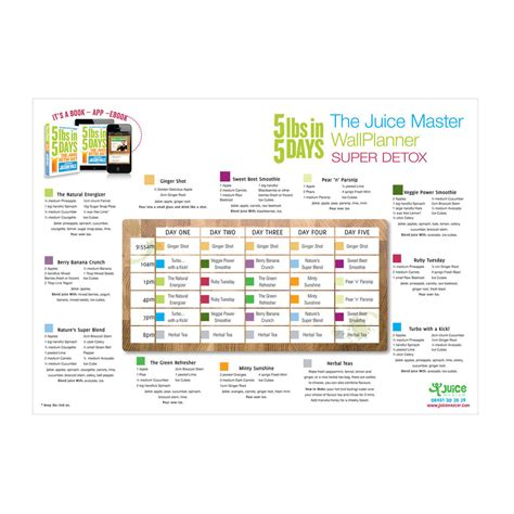 Juice Master 3 Day Detox Menu by 5lbs In 5 Days The Juice Detox Diet A3 Wall Planner