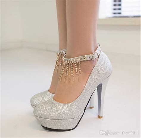 New 2018 Single Sequined Shoes High With A Word Buckle