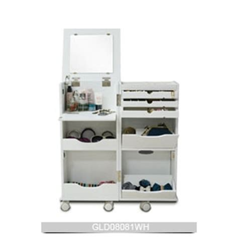 Cosmetic Cabinet by Jewelry Holder White Movable Wooden Cosmetic Cabinet With
