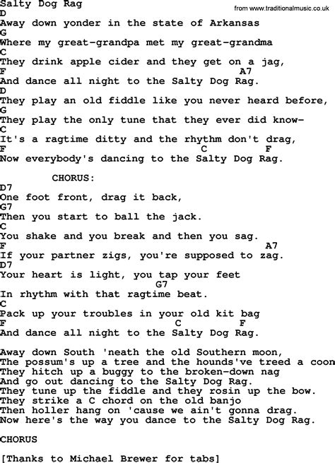 salty song salty rag bluegrass lyrics with chords