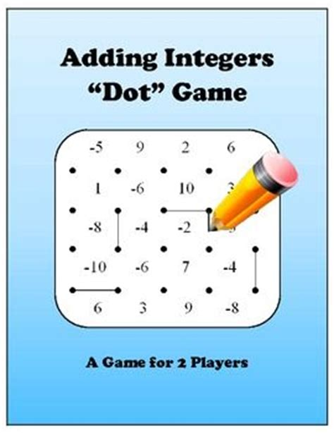 printable games with integers adding integers dot game best year ever pinterest