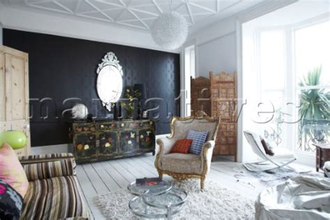 black painted room black feature wall living room home design
