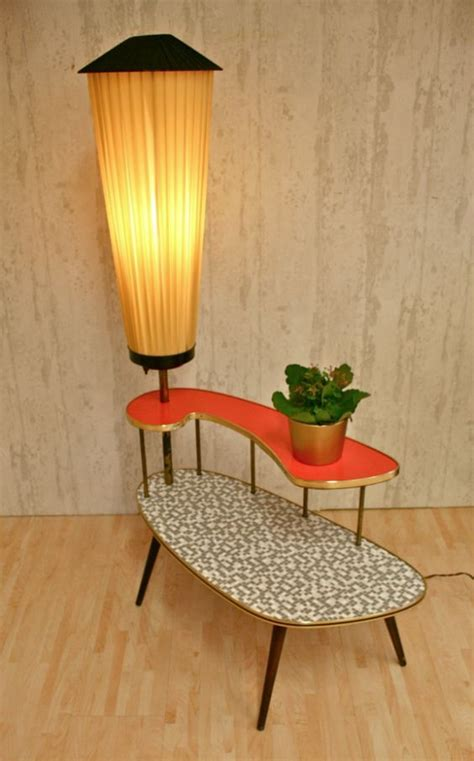 amazing mid century modern plant table  orange built