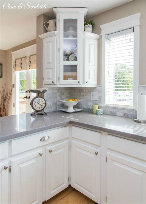 Grey Kitchen Cabinets With White Countertops by White Kitchen Reveal Home Tour Clean And Scentsible