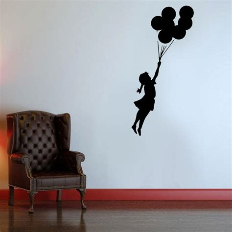 Shabby Chic Wall Mural banksy flying balloon girl stencil ideal stencils