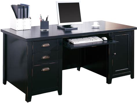 Black Desk Office Tribeca Loft Black Office Furniture Pedestal