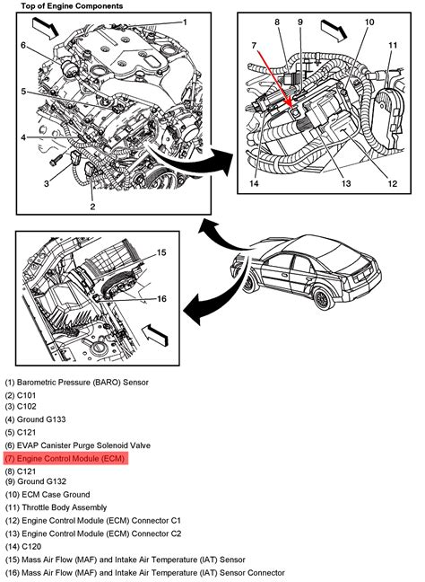 Where is the PCM located on a 2004 cadillac cts