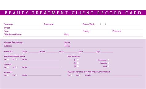 free nail technician client record card template new treatment consultation client record cards