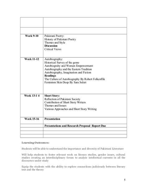 themes of pakistani literature in english course outline pakistani literature final