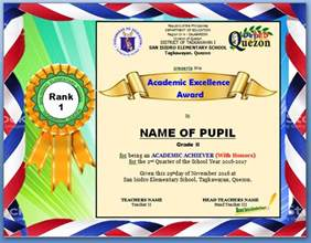 procedure on ranking pupils excellence award certificate
