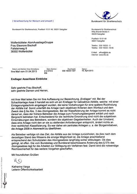 Schreiben Stellungnahme Muster Stellungnahme Der Waag Zur Anh 246 Rung Zur Asse Im Umweltausschuss Des Deutschen Bundestages