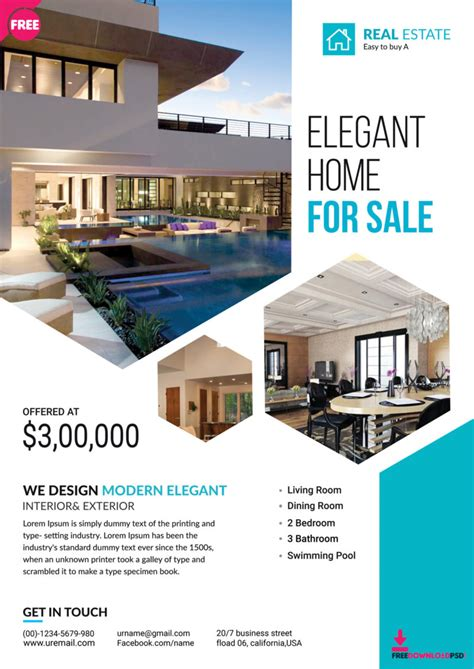 Premium Real Estate Flyer Template Freedownloadpsd Com Real Estate Flyer Template Free Pdf