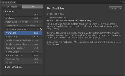 design menu in unity probuilder joins unity offering integrated in editor