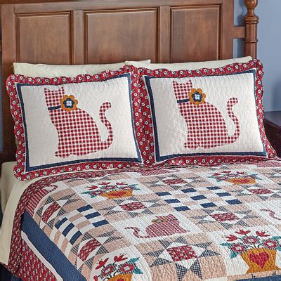 Patchwork Pillow Shams - country cat primitive patchwork pillow sham from