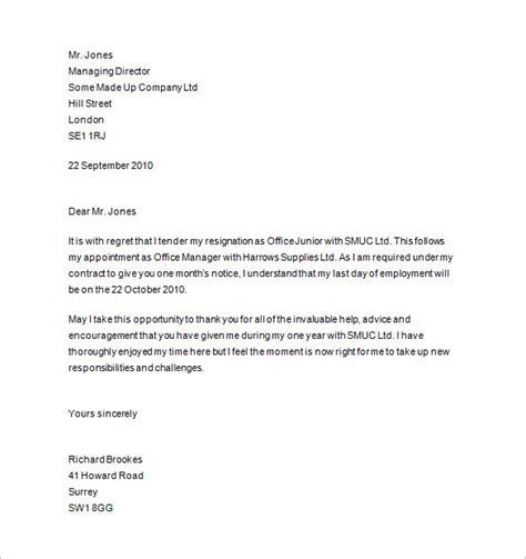 Resignation Letter Template Uk by Notice Of Resignation 11 Free Sles Exles Format Free Premium Templates