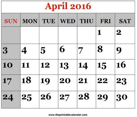 April 2016 Calendar Printable April 2016 Printable Calendars