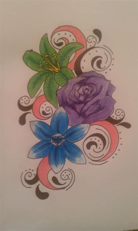 neck stone flower tattoo stone may june and december birth flowers done in colors