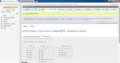 membuat database user dengan xp cara membuat database dengan xampp intutoko