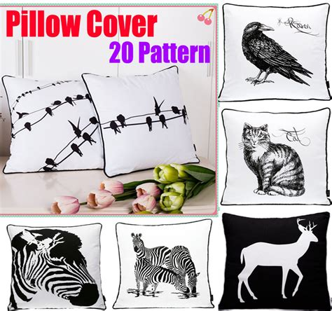 home decor birds cushioncover cojines black white bed printed animal birds