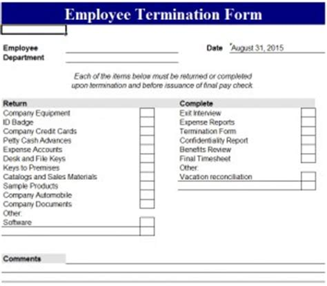 termination of employment form template employee termination form my excel templates