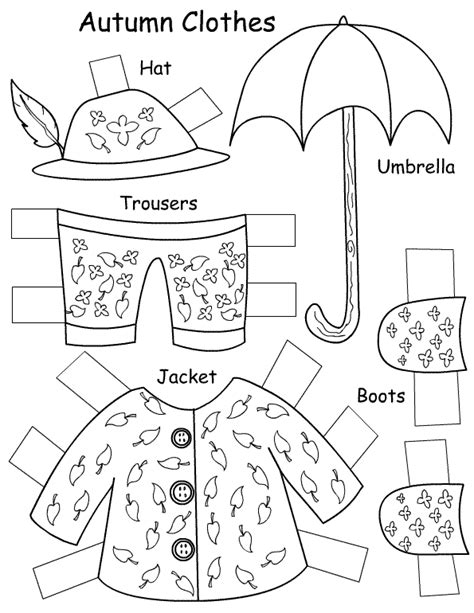 clothes for different seasons worksheet seasons clothes paper doll autumn 5 of 5 paper dolls