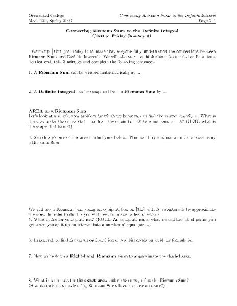 Definite Integral Worksheet by 28 Riemann Sum Worksheet Riemann Sum Worksheet