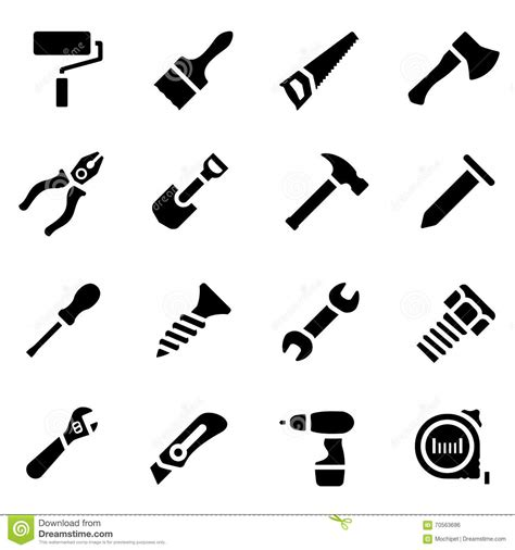 simple design tool icon set of black simple silhouette of work tools in flat