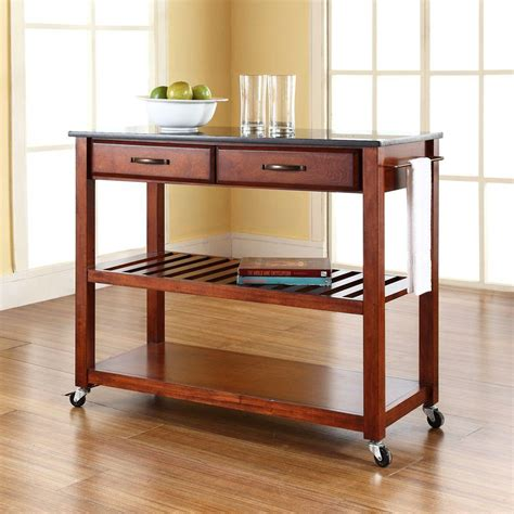 Cherry Kitchen Island Cart Crosley Cherry Kitchen Cart With Black Granite Top Kf30054ch The Home Depot