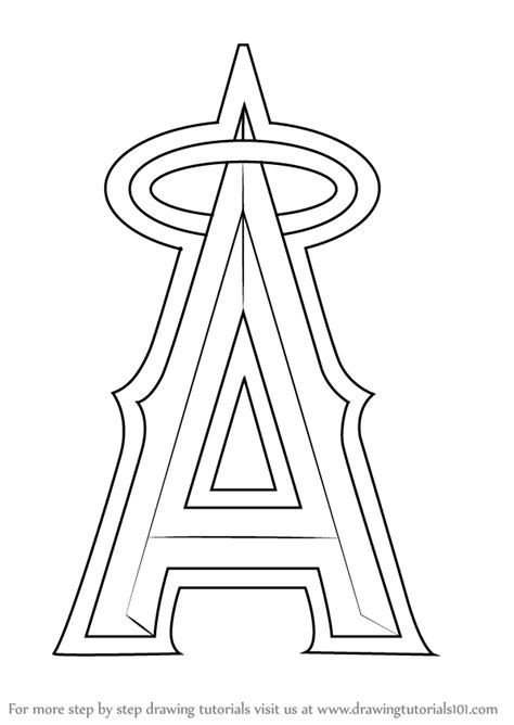 angels baseball coloring page learn how to draw los angeles angels of anaheim logo mlb