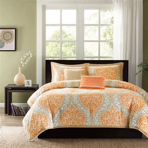 gray and orange comforter set shop intelligent design senna damask orange collection