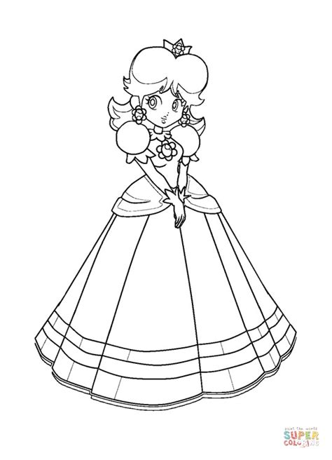 mario bros princess daisy coloring page free printable