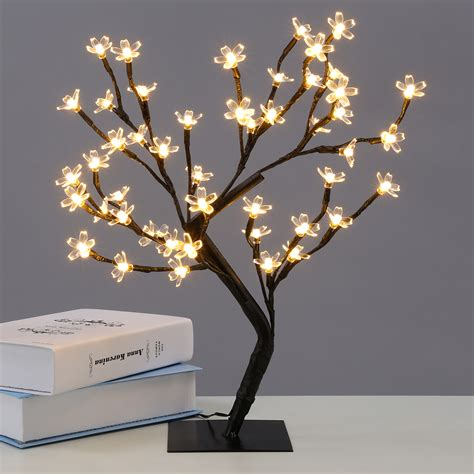 blossom lights 45cm 48 led pre lit light up table top cherry blossom bonsai tree waterproof uk ebay