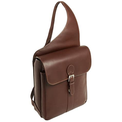 Leather Sling Bag For Macbook Or Notebook Up To 14 By Zapatos Brown siamod 174 sabotino leather sling messenger bag 158082 at sportsman s guide