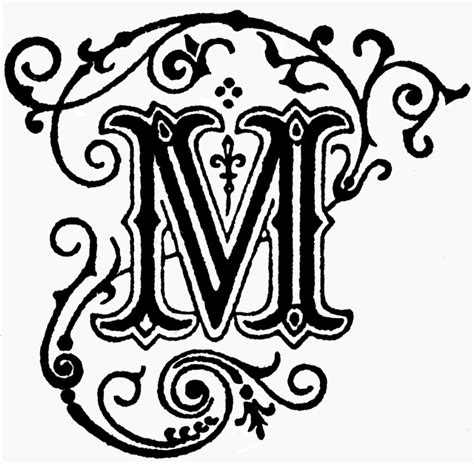 decorative letter m clipart etc