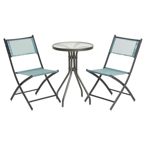 Folding Bistro Table And Chairs Set Wilko Folding Textilene Bistro Set At Wilko