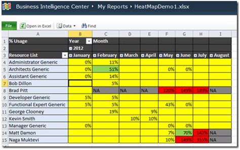 Building A Resource Usage Report In Project Server 2010 Mpug Resource Utilization Template Excel