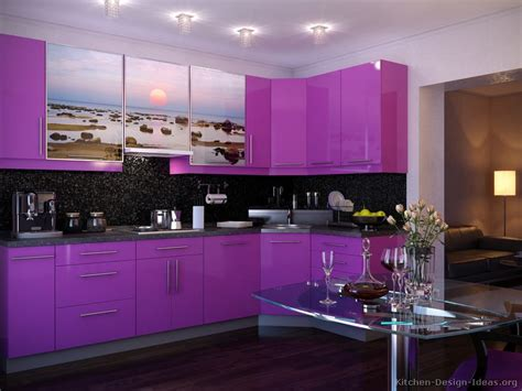 Purple Kitchens | pictures of modern purple kitchens design ideas gallery