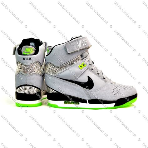 Nike Air Revolitions 373753839 nike air revolution sky hi in grey with lime detail soles crystalised with swarovski