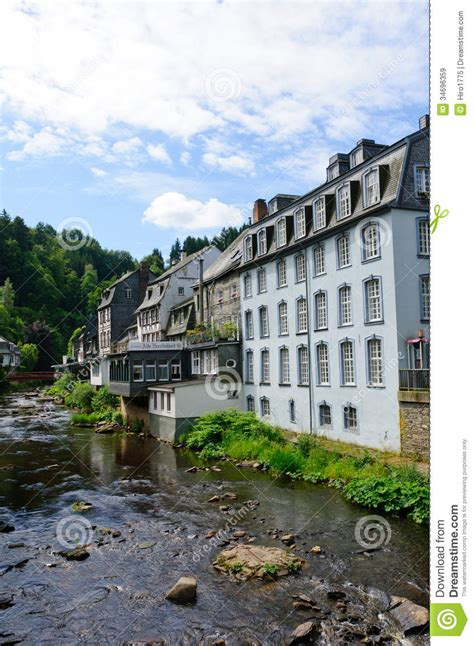 town  monschau  germany royalty  stock