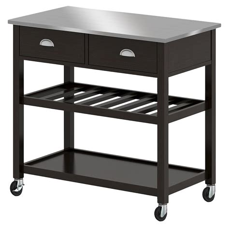 threshold kitchen island upc 764053494307 threshold stainless steel top open