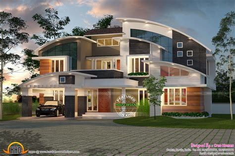 modern house plans curved roof front design