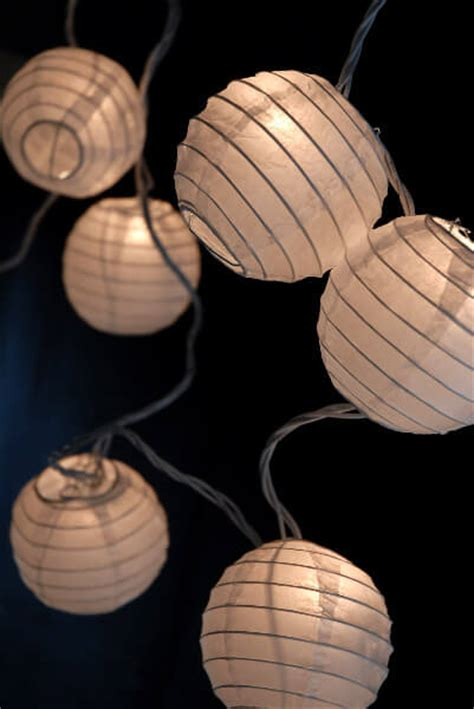 Paper Lantern Lights White Set Of 10 White Paper Lantern String Lights